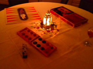 board game table with candle centerpiece