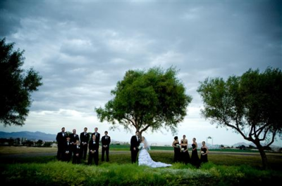 wedding party by trees