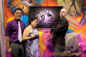 Sound Fusion Entertainment DJs with graffiti canvas art wall