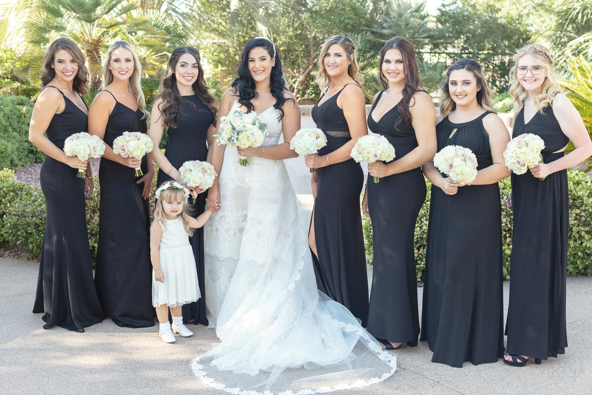 Bride with Bridesmaids at Emerald at Queensrirdge