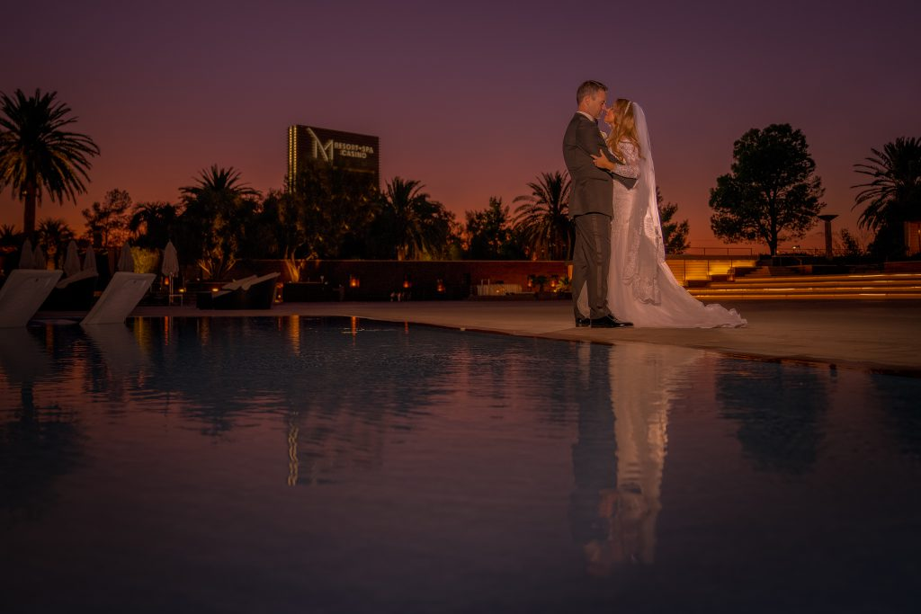 Couple at night M Resort Spa & Casino